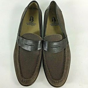 Hush Puppies Brown Canvas Leather Penny Loafers